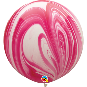 Qualatex Red & White Super Agate 30 inch Latex Balloon - 2 count