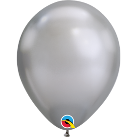 7 inch Qualatex Chrome Silver Latex Balloons - 100 count