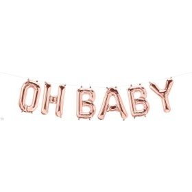 16 inch Rose Gold Oh Baby Foil Letter Balloon Kit - AIR FILL