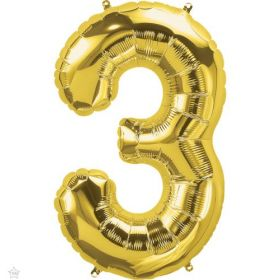 34 inch Northstar Gold Number 3 Foil Balloon
