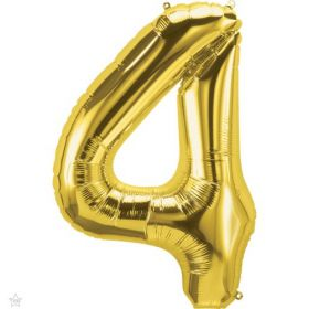 34 inch Northstar Gold Number 4 Foil Balloon