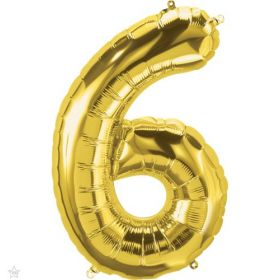 34 inch Northstar Gold Number 6 Foil Balloon