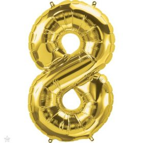 34 inch Northstar Gold Number 8 Foil Balloon