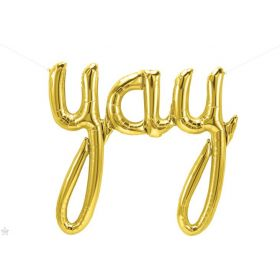 45 inch Gold Yay Script Foil Letter Balloon