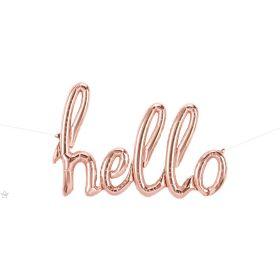 47 inch Rose Gold Hello Script Foil Letter Balloon