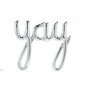 45 inch Silver Yay Script Foil Letter Balloon