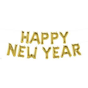16 inch Gold Happy New Year Letter Balloon Kit - AIR FILL