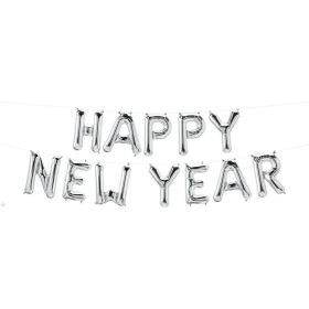 16 inch Silver Happy New Year Letter Balloon Kit - AIR FILL