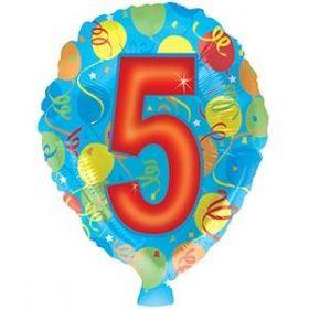 18 inch Foiltex Latex Shape Foil #5 Birthday Balloon - Flat