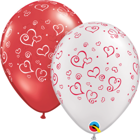 11 inch Qualatex Swirling Hearts Around Assorted Latex Balloons- 50 count