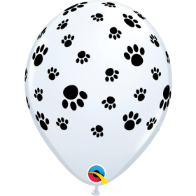 11 inch Qualatex Paw Prints All Around Latex Balloons - 50 count