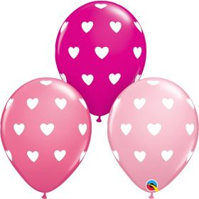 11 inch Qualatex Valentine's Big Hearts Assorted Latex Balloons- 50 count
