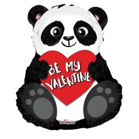 18 inch Kaleidoscope Be My Valentine Panda Bear Shape Foil Balloon - flat