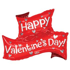 36 inch Happy Valentine's Day Banner Shape Foil Heart Balloon - Pkg