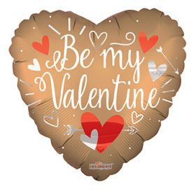 18 inch Be My Valentine Matte Heart Foil Balloon - flat
