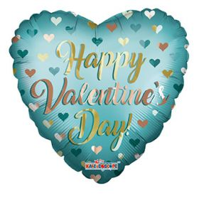 18 inch Happy Valentine's Day Gold & Mint Matte Foil Heart Balloon - flat