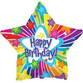 18 inch CTI Happy Birthday Bright Stars Foil Balloon - Packaged