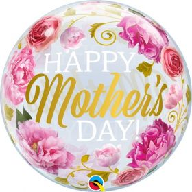 22 inch Qualatex Mothers Day Pink Peonies Bubble Balloon