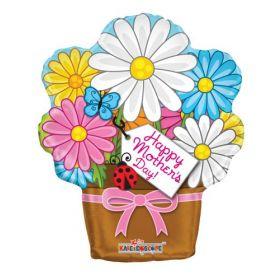 18 inch Kaleidoscope Happy Mother's Day Flowerpot Shape Balloon - Pkg