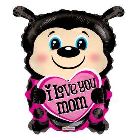 18 inch I Love You Mom Foil Mylar Lady Bug Shape Balloon