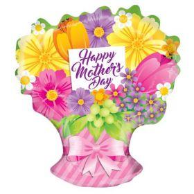 18 inch Kaleidoscope Happy Mother's Day Spring Flowers Bouquet Shape Gellibean Balloon - Flat