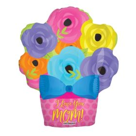 18 inch I Love You Mom Foil Mylar Flower Pot Shape Balloon