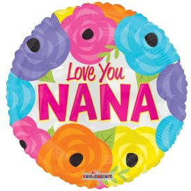 18 inch Love You Nana Bright Flowers Foil Mylar Circle Balloon