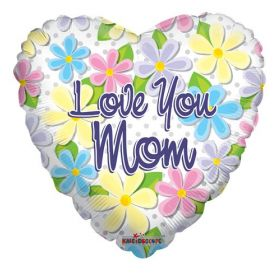 18 inch Love You Mom Flowers & Dots Foil Mylar Heart Balloon