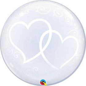 24 inch Qualatex Entwined Hearts Bubble Balloon