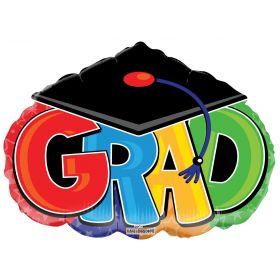 18 inch GRAD with Cap Shape Foil Balloon - Packaged