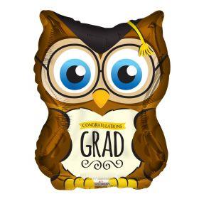 18 inch Congratulations GRAD Owl Shape Foil Balloon