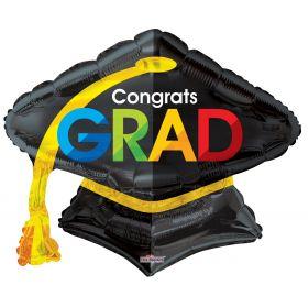 28 inch Congrats GRAD Cap Shape Foil Balloon