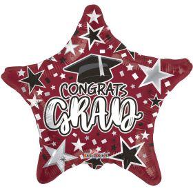 18 inch Congrats GRAD Star Foil Balloon - Burgundy