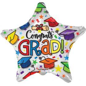 18 inch Kaleidoscope Grad Multicolor Caps Star Shape Foil Balloon - Pkg