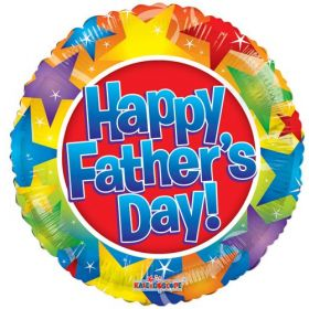 18 inch Happy Father's Day Stars Foil Mylar Circle Balloon