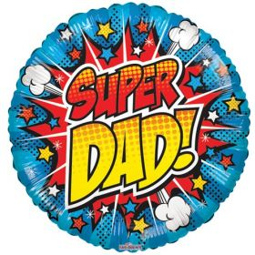 18 inch Super Dad Foil Mylar Circle Balloon