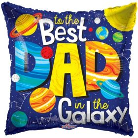 18 inch Best Dad in the Galaxy Foil Mylar Square Shape Balloon