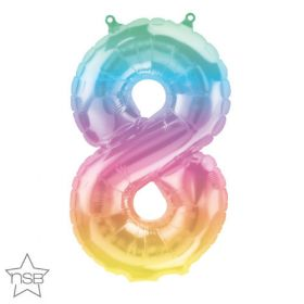 16 inch Northstar Jelli Ombre Number 8 Foil Mylar Balloon