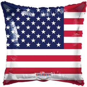 18 inch American Flag Foil Mylar Patriotic Square Balloon