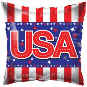 18 inch USA Foil Mylar Patriotic Square Shape Balloon
