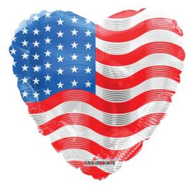 18 inch American Flag Foil Mylar Patriotic Heart Balloon