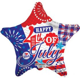 18 inch Happy 4th of July Foil Mylar Patriotic Star Balloon