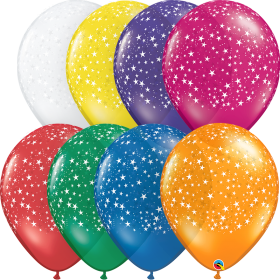 11 inch Qualatex Jewel Assorted Stars Around Latex Balloons - 50 count