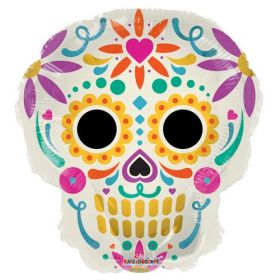 18 inch Colorful Skull Shape Halloween Foil Mylar