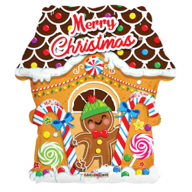 18 inch Merry Christmas Gingerbread House Shape Foil Balloon