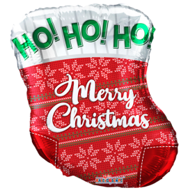 18 inch Merry Christmas Stocking Shape Foil Balloon