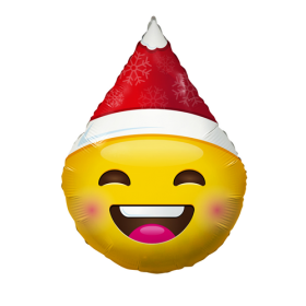 18 inch Smiley Emoticon Santa Hat Foil Balloon