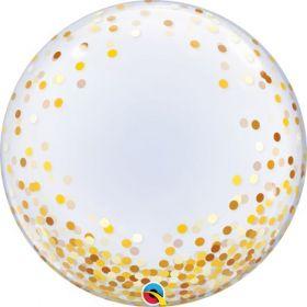 24 inch Qualatex Gold Confetti Dots Deco Bubble Balloon