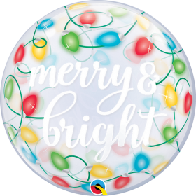 22 inch Qualatex Merry & Bright Christmas Lights Bubble Balloon