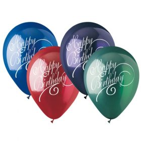 12 inch CTI Happy Birthday Script Latex Balloons Crystal Assorted 2 Sided - 50 count